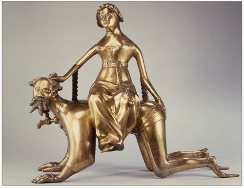 Aquamanile – Aristotle Ridden by Phyllis (1975.1.1416)  - The Metropolitan Museum of Art